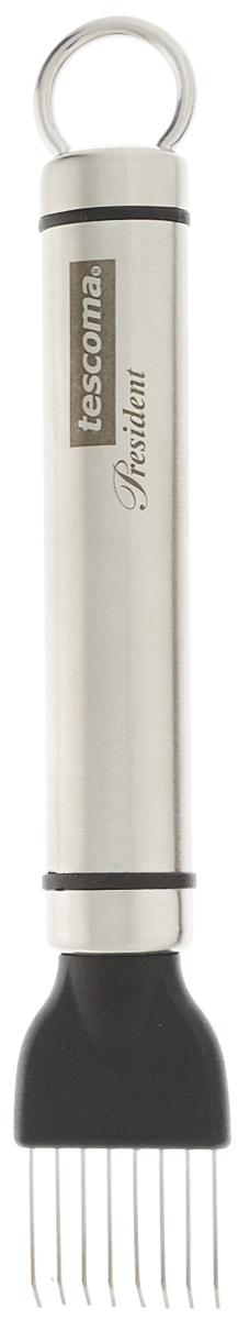 Скребок для удаления семян арбуза и дыни Tescoma President, длина 15 смCB-MARAKESHСкребок Tescoma President изготовлен из высококачественной нержавеющей стали и предназначен для легкого удаления семян арбуза и дыни. Легок в использовании. Разрежьте продукт и удалите семена, перемещая скребок от корки по направлению к центру. В комплект входит защитный чехол.Можно мыть в посудомоечной машине. Общая длина скребка: 15 см.Размер рабочей поверхности: 2,5 х 2 см.