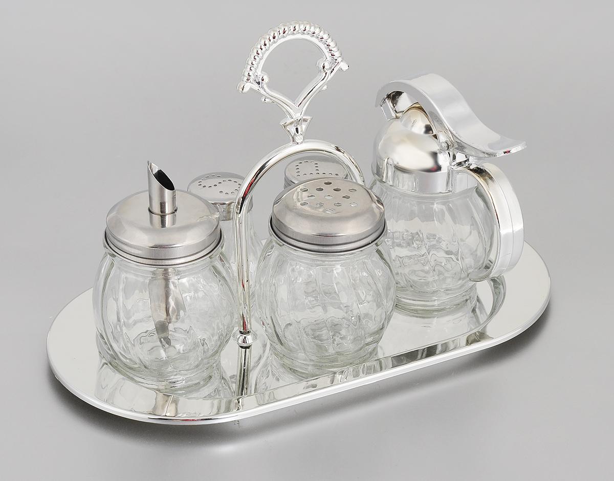 Набор для специй Mayer & Boch, 6 предметов. 23386IA-3Набор для специй Mayer & Boch состоит из солонки, перечницы, баночки для специй, сахарницы, сливочника и подставки. Емкости выполнены из высококачественного стекла с рельефной поверхностью. Крышки емкостей выполнены из нержавеющей стали и хромированного пластика. Для предметов набора предусмотрена подставка из хромированного пластика с ручкой. Набор для специй Mayer & Boch прекрасно оформит кухонный стол и станет незаменимым аксессуаром на любой кухне.Размер солонки/перечницы: 4,5 х 5 х 6,5 см. Размер сахарницы: 6 х 6 х 10,5 см. Размер баночки для специй: 6 х 6 х 8 см. Размер сливочника: 5,5 х 10 х 11,5 см.Размер подставки: 13,5 х 17 х 26 см.