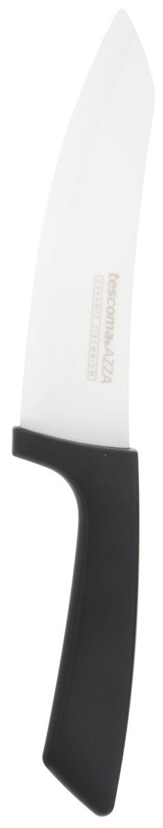Нож керамический Tescoma Azza, длина лезвия 15 смTK 0172/884008Нож Tescoma Azza предназначен для очистки овощей и фруктов, резки мяса без костей, хлебных изделий. Керамическое лезвие бережно относится к нарезаемым продуктам, овощи и фрукты не вянут, не темнеют, продукты не изменяют вкус и запах и дольше сохраняют свежесть. Нож прекрасно подходит для приготовления детской и диетической еды. Керамические лезвия исключительно острые и при обычном использовании не затупляются и никогда не ржавеют. Бакелитовая ручка с эффектом Soft-Touch приятна на ощупь и имеет противоскользящую обработку для безопасного использования. Нельзя мыть в посудомоечной машине. Длина ножа: 27 см.