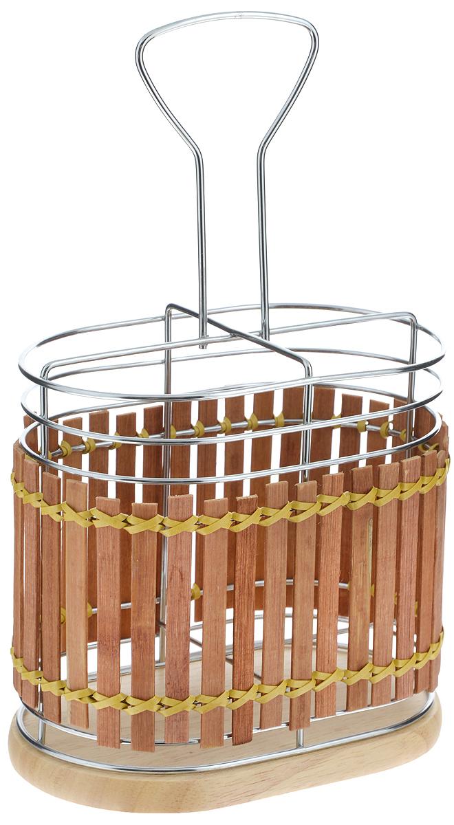 Подставка для столовых приборов Mayer & Boch, 15,8 х 10 х 25,5 смDFS-524Подставка для столовых приборов Mayer & Boch изготовлена из металла с деревянной плетеной отделкой. Изделие имеет 4 секции для хранения различных столовых приборов. Дно подставки деревянное, с текстильными накладками для устойчивого положения. Для удобной переноски подставка снабжена ручкой. Оригинальная и стильная подставка для столовых приборов отлично дополнит интерьер кухни и поможет аккуратно хранить ваши столовые приборы.