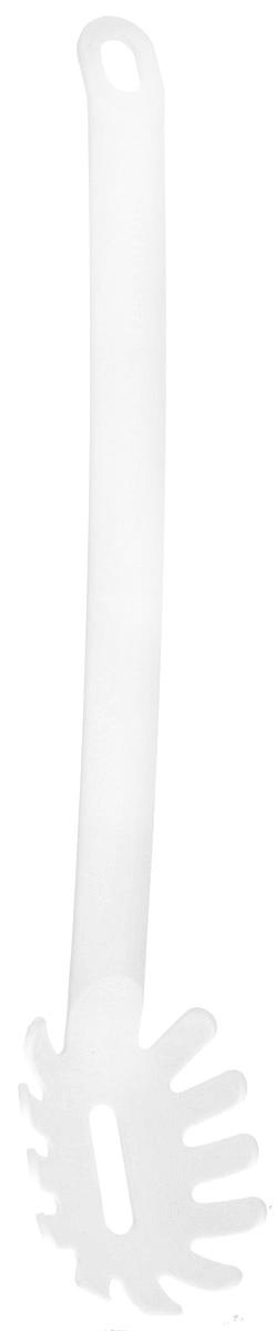 Ложка для спагетти Tescoma Space Bianco, длина 32 см54 009312Ложка для спагетти Tescoma Space Bianco изготовлена из высококачественного термостойкого нейлона и безопасна для всех видов посуды, особенно с антипригарным покрытием. Эргономичная рукоятка обеспечивает надежный хват, а небольшое отверстие позволить подвесить изделие в удобном для вас месте. С такой ложкой для спагетти вы сможете аккуратно и без проблем накладывать пасту порционно в каждую тарелку - при этом длинные спагетти не ломаются и сохраняют прекрасный вид.Можно мыть в посудомоечной машине.Длина ложки: 32 см. Размер рабочей поверхности: 8,5 х 6 х 2,5 см.
