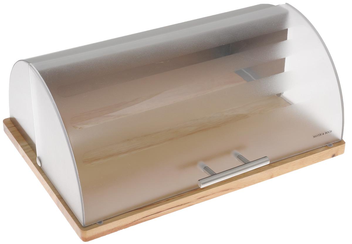 Хлебница Mayer & Boch, 39 х 30 х 16,5 смVT-1520(SR)Хлебница Mayer & Boch изготовлена из высококачественной нержавеющей стали и пластика. Благодаря резиновым накладкам деревянная подставка не царапает поверхность стола и очень устойчива. Крышка плотно и легко закрывается.Стильная хлебница прекрасно впишется в интерьер кухни и надолго сохранит ваш хлеб вкусным и свежим.