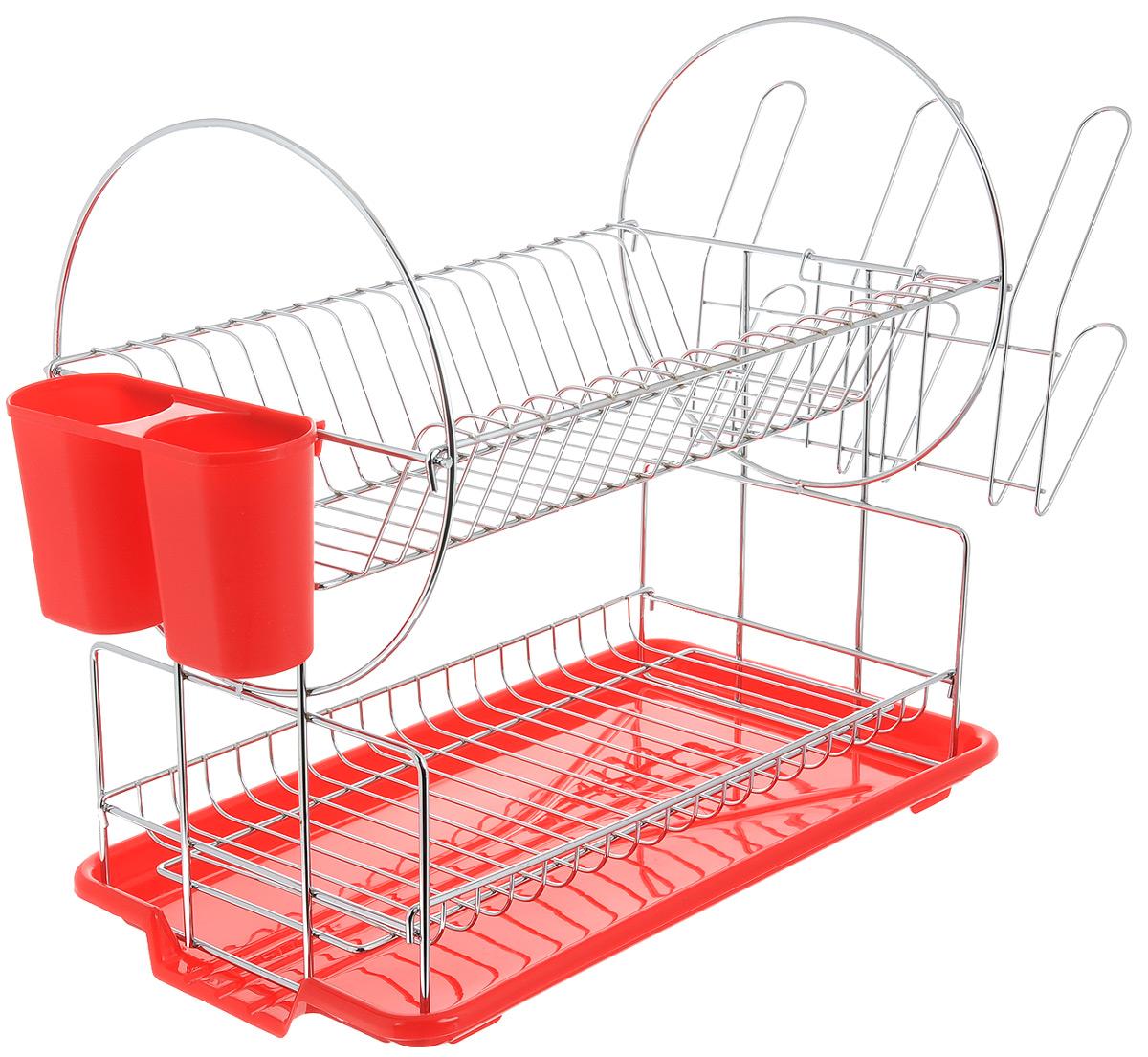 Сушилка для посуды Mayer & Boch, цвет: красный, серебристый, 42 х 22 х 35 смFD-59Сушилка для посуды Mayer & Boch изготовлена из высококачественных гигиеничных материалов. Корпус выполнен из хромированного металла, поддон и подставка для столовых приборов - из полипропилена. Сушилка двухъярусная, что позволяет хранить больше посуды. Внизу можно поместить кружки и пиалы, а вверху - тарелки и столовые приборы. Сбоку предусмотрены специальные держатели для стаканов. Прямоугольный поддон для воды поможет вам сохранить кухню в чистоте. Элегантный дизайн позволит сушилке Mayer & Boch стать прекрасным дополнением интерьера кухни.