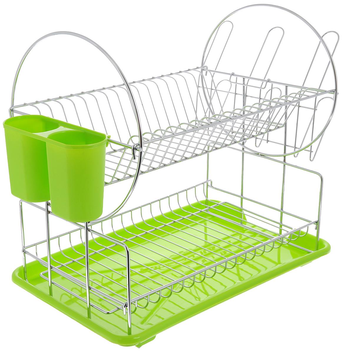 Сушилка для посуды Mayer & Boch, цвет: зеленый, серебристый, 42 х 22 х 35 смВетерок 2ГФСушилка для посуды Mayer & Boch изготовлена из высококачественных гигиеничных материалов. Корпус выполнен из хромированного металла, поддон и подставка для столовых приборов - из полипропилена. Сушилка двухъярусная, что позволяет хранить больше посуды. Внизу можно поместить кружки и пиалы, а вверху - тарелки и столовые приборы. Сбоку предусмотрены специальные держатели для стаканов. Прямоугольный поддон для воды поможет вам сохранить кухню в чистоте. Элегантный дизайн позволит сушилке Mayer & Boch стать прекрасным дополнением интерьера кухни.