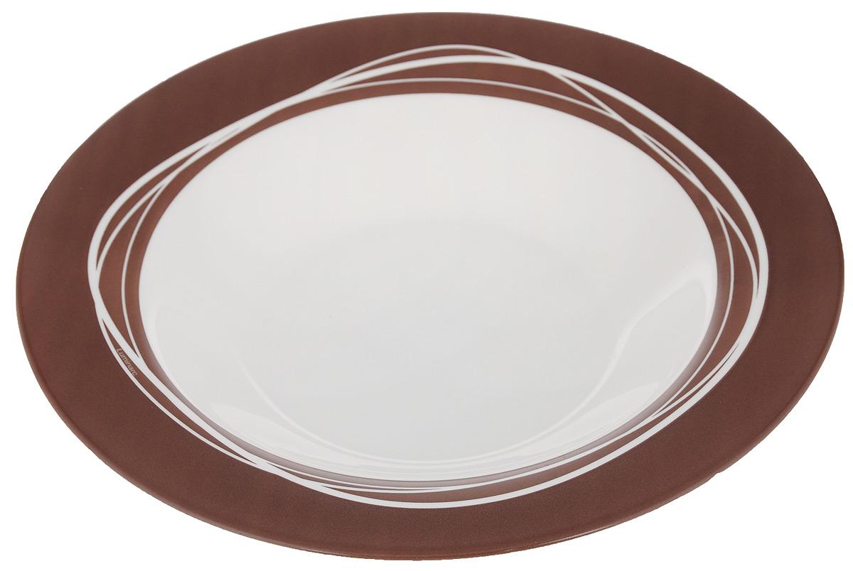 Тарелка глубокая Luminarc Raffia Brown, диаметр 23 см54 009312Тарелка Luminarc Raffia Brown, изготовленная из ударопрочного стекла, оформлена в классическом стиле. Такая тарелка прекрасно подходит как для торжественных случаев, так и для повседневного использования. Идеальна для подачи жидких блюд. Она прекрасно оформит стол и станет отличным дополнением к вашей коллекции кухонной посуды. Можно мыть в посудомоечной машине и использовать в СВЧ. Диаметр тарелки (по верхнему краю): 23 см. Высота тарелки: 4 см.