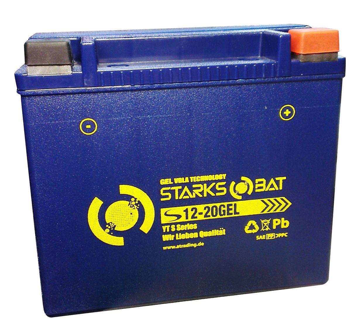 Батарея аккумуляторная для мотоциклов Starksbat. YT S 12-20 GEL (YTX20L-BS)YT S 12-20YT S 12-20 GEL (YTX20L-BS, YTX20HL-BS, YB16CL-B, YB16L-B, YB18L-A) Аккумуляторы для мотоциклов STARKSBAT производятся немецким концерном Active Trading GmbH. Аккумуляторы STARKSBAT изготовлены по технологии AGM, обеспечивающей повышенный уровень безопасности батареи и удобство ее эксплуатации. Корпус АКБ STARKSBAT выполнен из особо ударопрочного и морозостойкого полипропилена. Аккумуляторы STARKSBAT длительное время успешно продаются в США и Канаде, где блестяще доказали свои высокие эксплуатационные свойства в самых экстремальных условиях бездорожья, высоких и низких температур. Аккумуляторные батареи STARKSBAT производятся под знаменитым Немецким контролем качества, что обеспечивает им высокие пусковые характеристики и восстановление емкости даже после глубокого разряда.YT S 12-20 GEL Technology (YTX20L-BS, YTX20HL-BS, YB16CL-B, YB16L-B, YB18L-A)Параметры аккумулятора:Напряжение (В): 12 Емкость (А/Ч): 18 Размеры (мм): 175х87х155 Полярность: Обратная (-+) Ток холодной прокрутки: 310 Аh (EN)Корпус АКБ STARKSBAT выполнен из особо ударопрочного и морозостойкого полипропилена