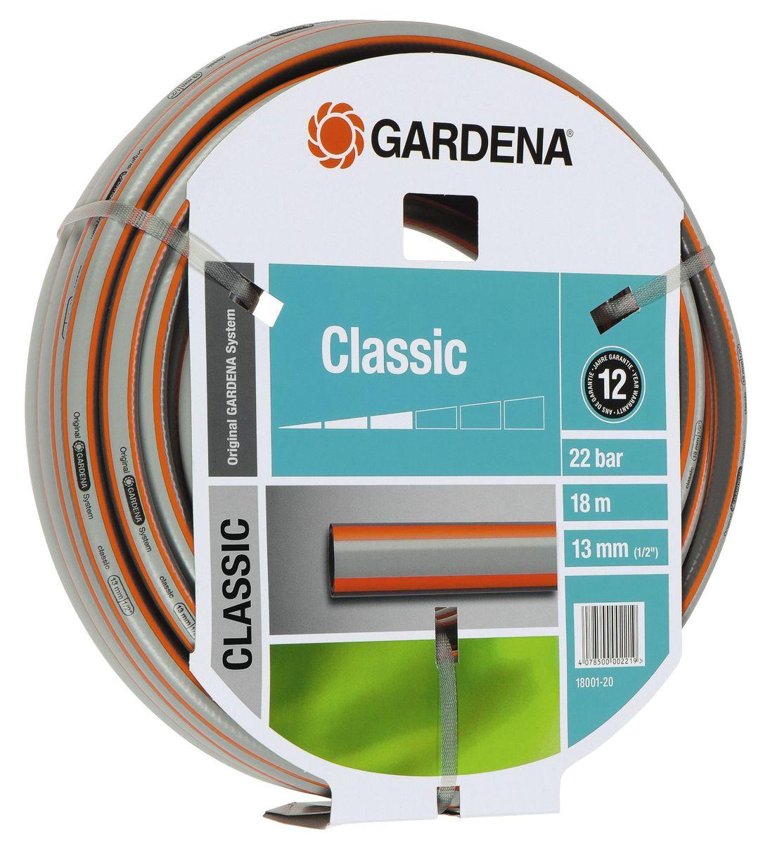 Шланг Gardena Classic, 13 мм (1/2) х 18 мст450-2нсШланг Gardena Classic, прекрасно сохраняет свою форму благодаря высококачественному текстильному армированию, отсутствуют фталаты и тяжелые металлы, невосприимчив к УФ-излучению. Шланг не перегибается, не спутывается, не перекручивается, благодаря спиралевидному текстильному армированию, усиленному углеродными волокнами. Шланг Gardena Classic оптимально сочетается с компонентами базовой системы полива. Идеально подходит для умеренной интенсивности использования. Шланг Gardena Classic выполнен из высококачественного ПВХ и выдерживает давление до 22 бар. Толстые стенки шланга и высококачественные материалы обеспечивают длительный срок службы.