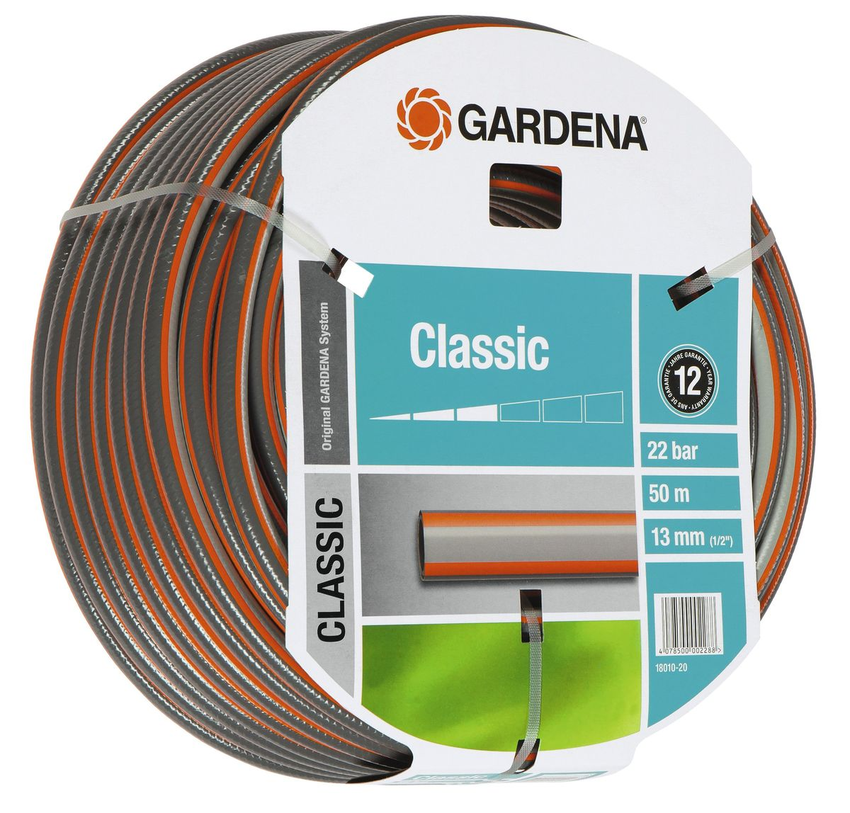 Шланг Gardena Classic, 13 мм (1/2) х 50 м2.645-178.0Шланг Gardena Classic, прекрасно сохраняет свою форму благодаря высококачественному текстильному армированию, отсутствуют фталаты и тяжелые металлы, невосприимчив к УФ-излучению. Шланг не перегибается, не спутывается, не перекручивается, благодаря спиралевидному текстильному армированию, усиленному углеродными волокнами. Шланг Gardena Classic оптимально сочетается с компонентами базовой системы полива. Идеально подходит для умеренной интенсивности использования. Шланг Gardena Classic выполнен из высококачественного ПВХ и выдерживает давление до 22 бар. Толстые стенки шланга и высококачественные материалы обеспечивают длительный срок службы.