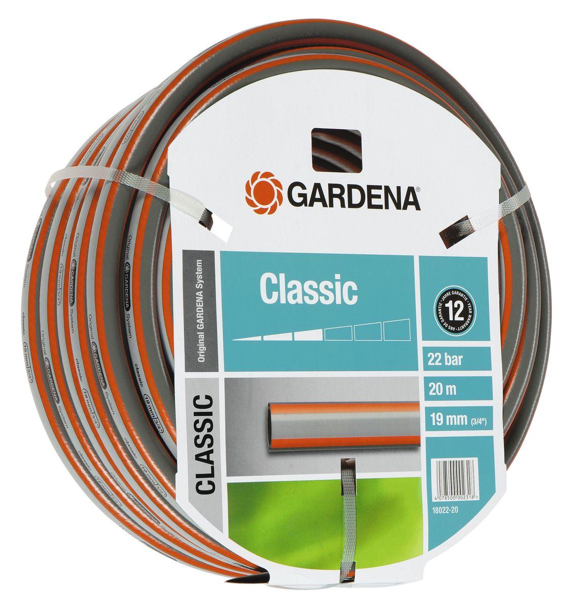 Шланг Gardena Classic, 19 мм (3/4) х 20 м18022-20.000.00Шланг Gardena Classic, прекрасно сохраняет свою форму благодаря высококачественному текстильному армированию, отсутствуют фталаты и тяжелые металлы, невосприимчив к УФ-излучению. Шланг не перегибается, не спутывается, не перекручивается, благодаря спиралевидному текстильному армированию, усиленному углеродными волокнами. Шланг Gardena Classic оптимально сочетается с компонентами базовой системы полива. Идеально подходит для умеренной интенсивности использования. Шланг Gardena Classic выполнен из высококачественного ПВХ и выдерживает давление до 22 бар. Толстые стенки шланга и высококачественные материалы обеспечивают длительный срок службы.