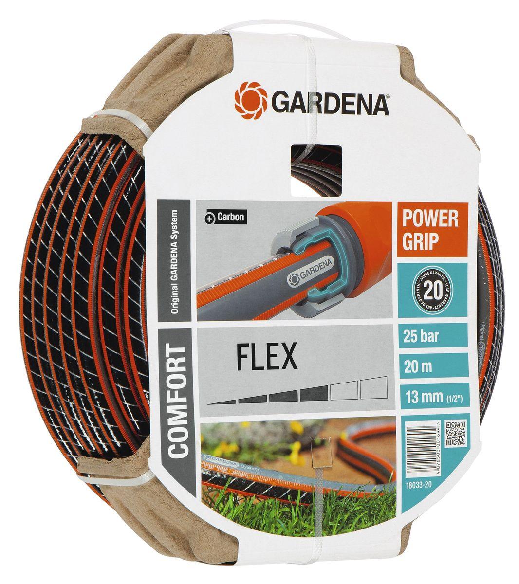 Шланг Gardena Flex, диаметр 1/2, длина 20 м18033-20.000.00Шланг Gardena Flex с ребристым профилем Power Grip подходит для идеального соединения с коннекторами базовой системы полива. Устойчив к высокому давлению и сохраняет формы благодаря спиралевидному текстильному армированию, усиленному углеродом.Не перегибается, не спутывается.