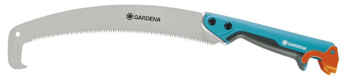 Пила комбисистемы садовая изогнутая Gardena 300 PP08738-20.000.00Радиальная садовая пила Gardena «300 РР» подходит для различных целей - в зависимости от ваших задач. Пила удобно лежит в руке, облегчая процесс работы. Изогнутое полотно с твердым хромовым покрытием и зубья импульсной закалки с тройной заточкой гарантируют удобное пиление без лишних усилий. Крюк облегчает удаление спиленных веток. Садовая пила не соскальзывает даже при движении на себя и снабжена ушком для петли, а также чехлом для лезвия, что обеспечивает безопасность хранения. Длина ножа - 315 мм.