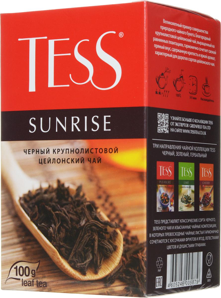 Tess Sunrise черный листовой чай, 100 г0120710Черный байховый цейлонский чай Tess Sunrise отличается необыкновенно насыщенным ярким вкусом и тонким, очень приятным ароматом, свойственным цейлонским чаям.