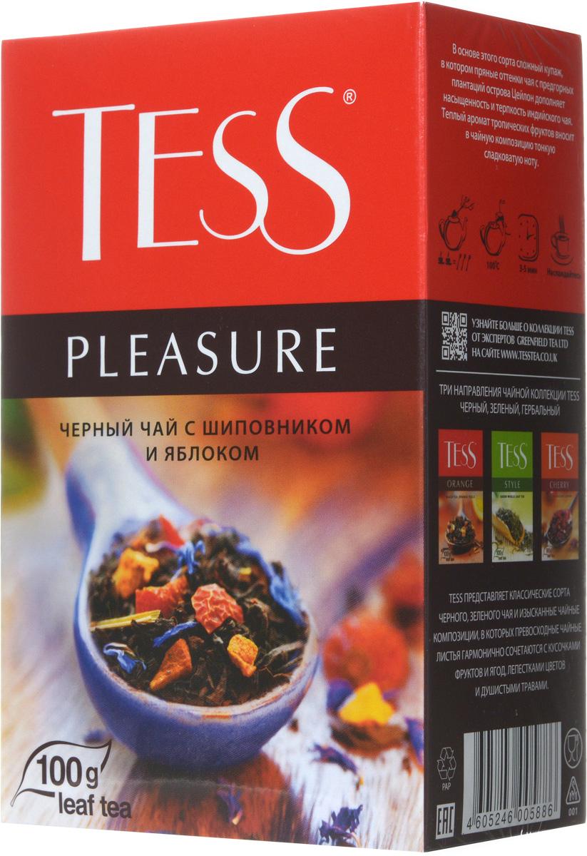 Tess Pleasure черный листовой чай, 100 г0588-15Tess Pleasure - выразительная композиция из черного чая с кусочками шиповника, сушеных яблок и нежных васильковых лепестков. Особая прелесть этого сорта - сочетание мягкого вкуса цейлонского чая и тонких оттенков фруктов. Приятный нежный аромат с легким оттенком персика.