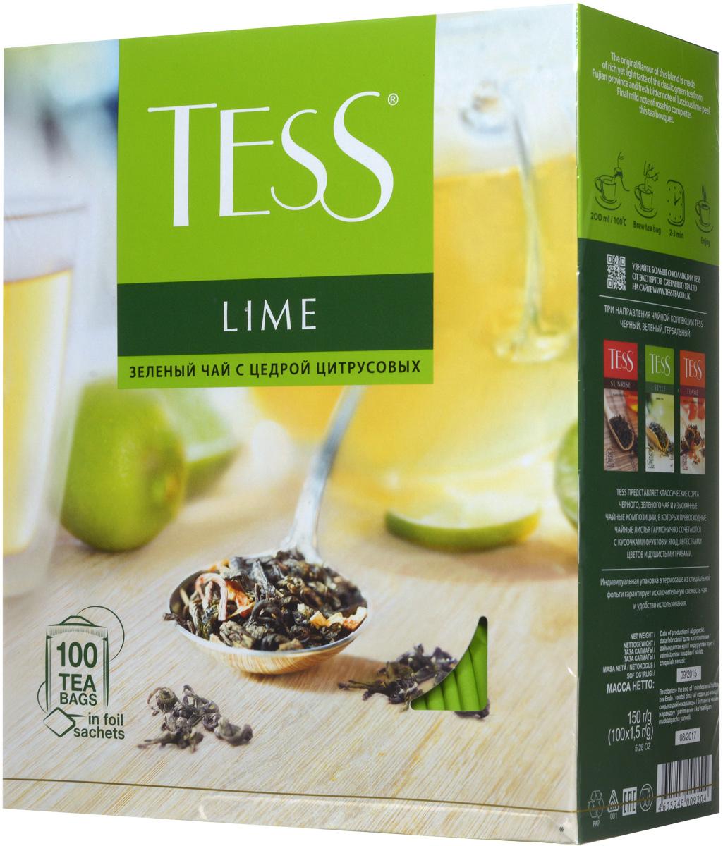 Tess Lime зеленый чай в пакетиках, 100 шт0120710Зеленый чай Tess Lime - это очень интересная композиция из зеленого чая, кусочков шиповника, лимонной цедры и лепестков календулы. Острая лимонная кислинка хорошо сочетается с характерным, немного терпким вкусом зеленого чая, а завершающую точку ставит свежий, чуть горьковатый аромат сочного лайма.