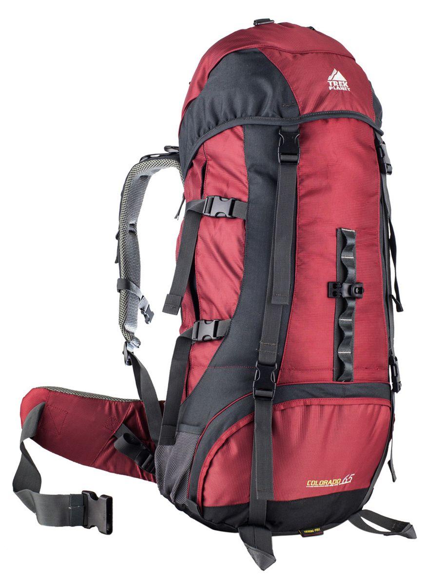Рюкзак туристическийTrek Planet Colorado 65, цвет: красный70559Практичный туристический рюкзак Trek Planet Colorado 65 станет отличным выбором для любителей походов и кемпингов. Анатомическая вентилируемая спинка обеспечивает максимальный комфорт и стабилизацию рюкзака на спине. Оптимальное распределение нагрузки выполняет регулируемая система жесткой подвески V1. Объем рюкзака регулируется вертикальными и горизонтальными стропами. Дополнительный вход в нижнее отделение и два глубоких кармана на молнии по бокам. Особенности рюкзака: - 2 глубоких кармана на молнии по бокам, - 2 боковых сетчатых кармана на резинке, - Карман на поясном ремне, - Дополнительные лямки внизу для крепления снаряжения, - 2 кармана в верхнем клапане, - Дополнительный вход в нижнее отделение, - Компрессионные ремни, - Съемный чехол от дождя.