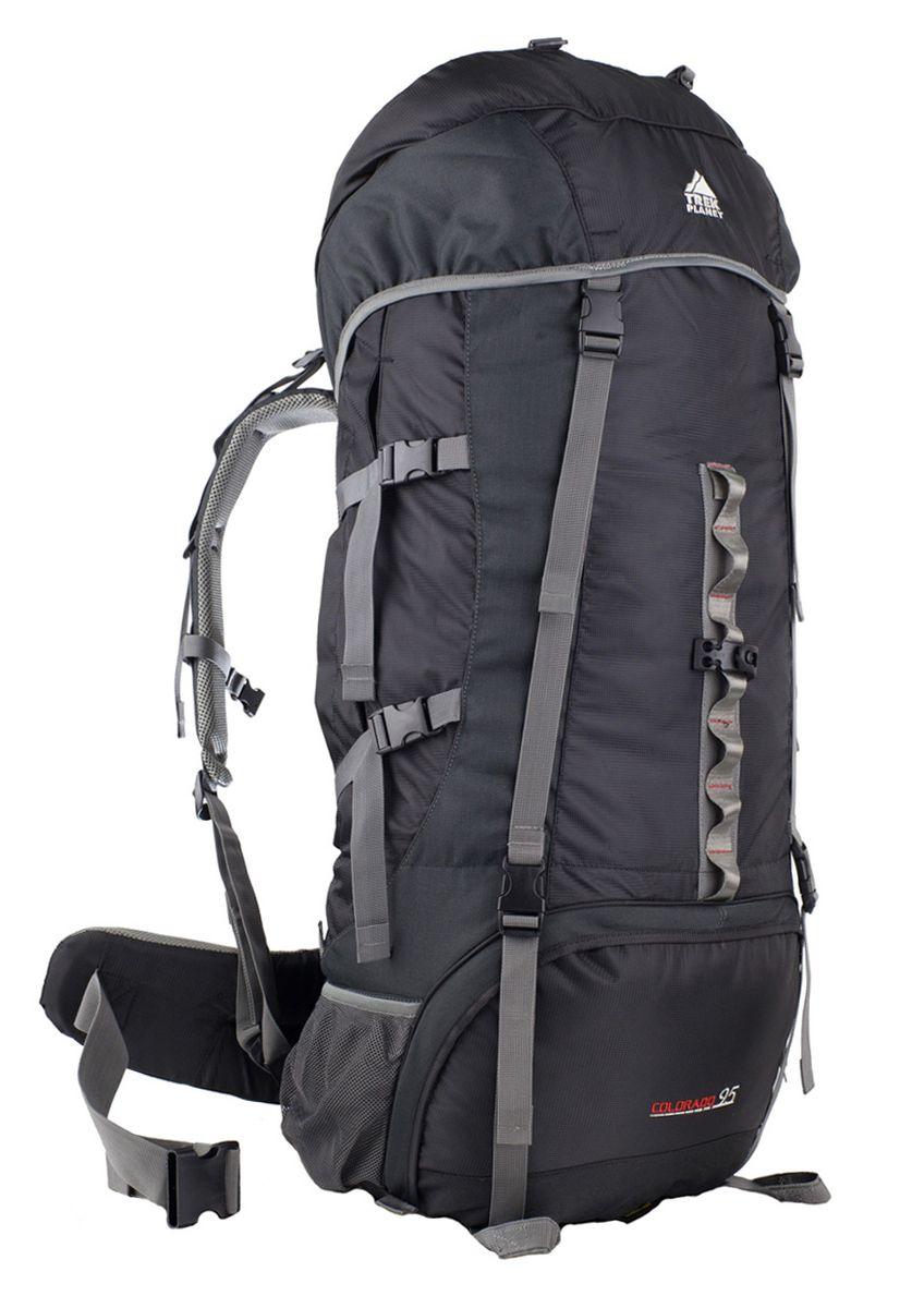 Рюкзак туристический Trek Planet Colorado 95, цвет: черный70566Практичный туристический рюкзак Trek Planet Colorado 95 станет отличным выбором для любителей походов и кемпингов. Анатомическая вентилируемая спинка обеспечивает максимальный комфорт и стабилизацию рюкзака на спине. Оптимальное распределение нагрузки выполняет регулируемая система жесткой подвески V1. Объем рюкзака регулируется вертикальными и горизонтальными стропами. Дополнительный вход в нижнее отделение и два глубоких кармана на молнии по бокам. Особенности рюкзака: - 2 глубоких кармана на молнии по бокам, - 2 боковых сетчатых кармана на резинке, - Карман на поясном ремне, - Дополнительные лямки внизу для крепления снаряжения, - 2 кармана в верхнем клапане, - Дополнительный вход в нижнее отделение, - Компрессионные ремни, - Съемный чехол от дождя.