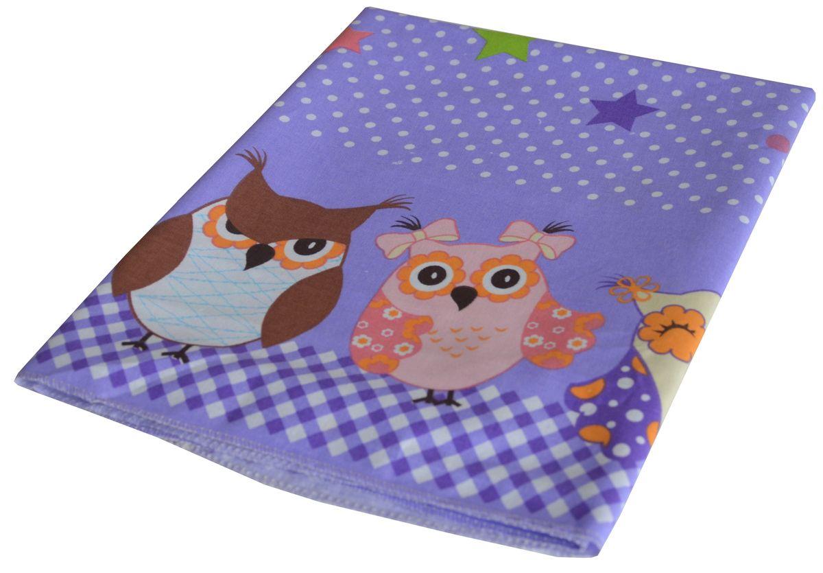 Bonne Fee Простыня детская Совы цвет фиолетовый 60 х 120 см114612110-10_желтыйПростыня Совы выполнена из натурального и экологически чистого 100% хлопка.