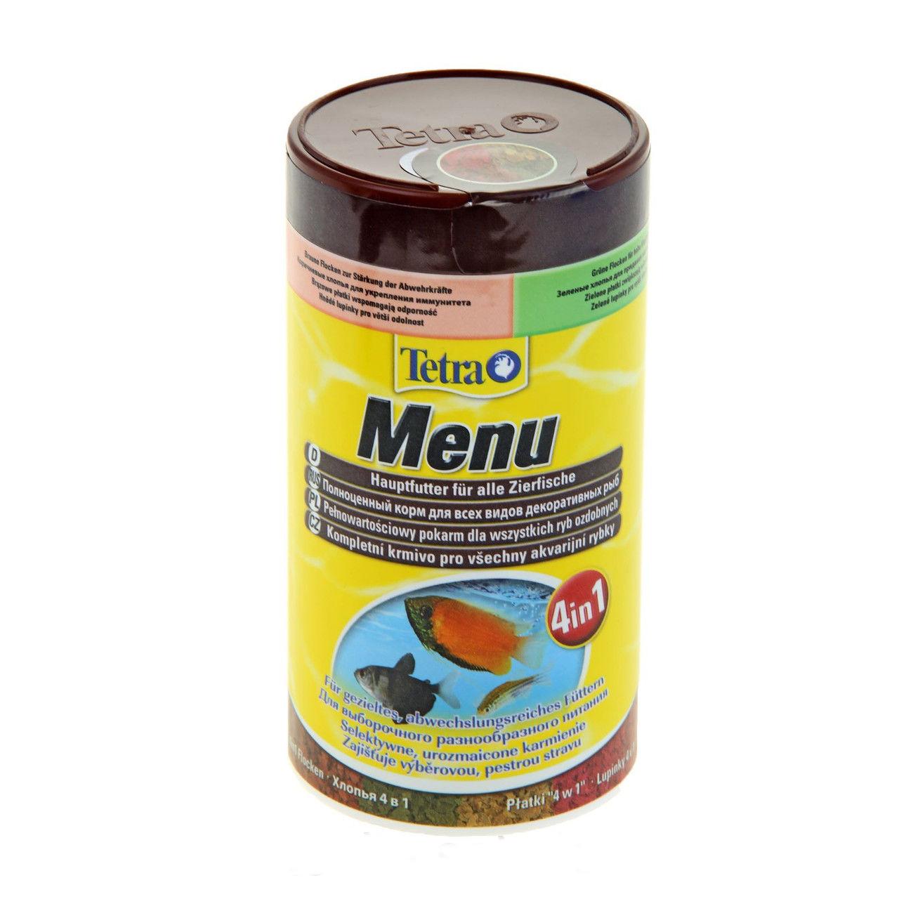 Корм Tetra Menu для всех видов декоративных рыб, 4 вида хлопьев, 250 мл (64 г)767393Корм Tetra Menu предназначен для всех видов декоративных рыб. Это полноценный корм для выборочного кормления, соответствующего потребности рыб. В одной упаковке содержится 4 вида хлопьев: - желтые хлопья с оптимальным соотношением протеинов и жиров для здорового роста, - красные хлопья с усилителями естественного цвета для улучшения окраски, - коричневые хлопья со специальным комплексом витаминов для укрепления иммунитета, - зеленые хлопья с необходимыми растительными питательными веществами для поддержки жизненных сил. Тщательно отобранные специальные хлопья с витаминами, минералами и микроэлементами для разнообразного и сбалансированного питания. Ежедневное кормление позволяет отрегулировать рост питомцев, обеспечить им жизнестойкость и плодовитость. Кормить рыбок нужно 2-3 раза ежедневно маленькими порциями. Состав: рыба и побочные рыбные продукты, зерновые культуры, дрожжи, экстракты растительного белка, моллюски и раки, водоросли, масла и жиры, сахар, минеральные вещества. Аналитические компоненты: сырой белок 47%, сырые масла и жиры 8%, сырая клетчатка 2%, влага 7%. Добавки: витамины, провитамины и химические вещества с аналогичным воздействием: витамин A 17000 МЕ/кг, витамин Д3 1060 МЕ/кг. Комбинации микроэлементов: Е5 марганец 72 мг/кг, Е6 цинк 43 мг/кг, Е1 железо 28 мг/кг, Е3 кобальт 0,5 мг/кг. Красители, антиоксиданты. Товар сертифицирован.