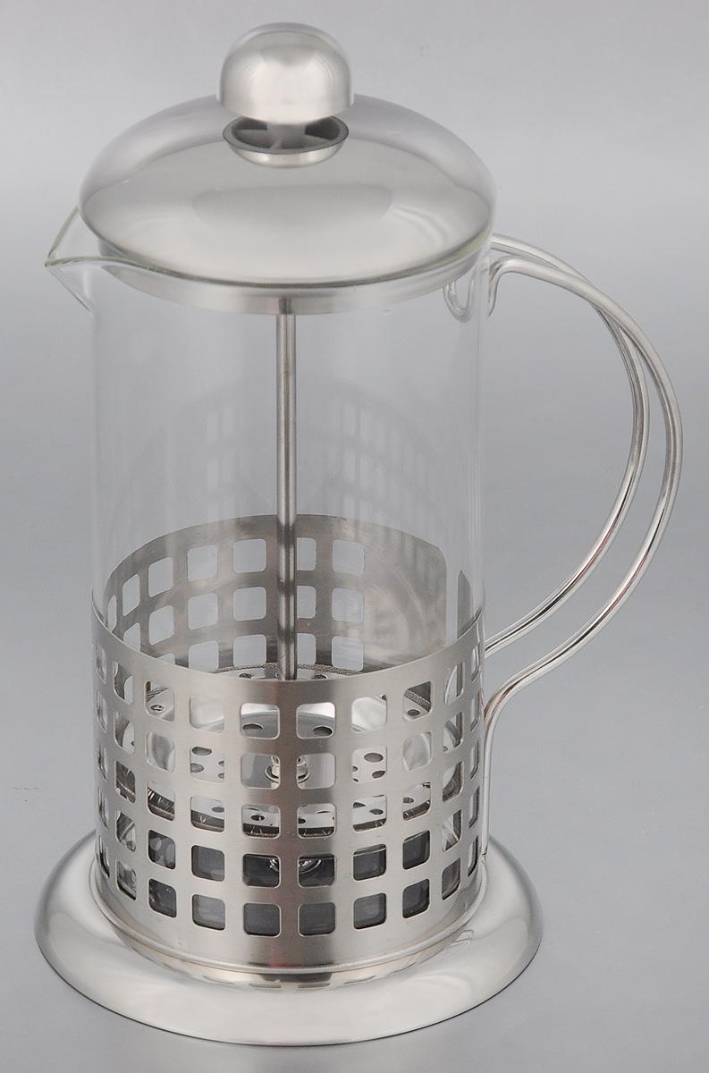 Френч-пресс Mayer & Boch, 600 мл. 2493054 009312Френч-пресс Mayer & Boch прекрасно подходит для заваривания чая и кофе. Изделие выполнено из термостойкого стекла в сочетании с нержавеющей сталью. Фильтр-поршень из нержавеющей стали изготовлен по технологии press-up для обеспечения равномерной циркуляции воды. Внутренняя часть крышки отделана пищевым полипропиленом. Френч-пресс легок в использовании. Налейте воду, добавьте ложку чая/кофе, плотно закройте френч-пресс крышкой и поднимите поршень, дайте настояться 3-5 минут, медленно опустите поршень вниз, свежий и ароматный напиток готов. Подходит для мытья в посудомоечной машине. Не используйте в микроволновой печи. Диаметр (по верхнему краю): 8,5 см. Диаметр основания: 11,5 см. Высота френч-пресса: 21,5 см.