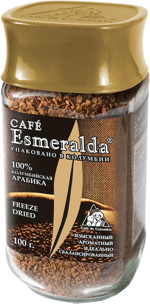 Cafe Esmeralda сублимированный кофе, 100 г0120710Кофе Cafe Esmeralda произведен и упакован на самой современной в мире фабрике сублимированного кофе Liofilizado в Колумбии под строгим контролем Национальной Федерации производителей кофе Колумбии. Обработка по технологии Freeze Dried - быстрая заморозка в вакууме - сохраняет максимум вкуса и аромата, как у молотого кофе. Дополнительно кофейные кристаллы обрабатываются специальным кофейным маслом, что предотвращает их рассыпание. Кофе произведен из зерен 100% колумбийской арабики. Обладает особенно крепким вкусом и насыщенным ароматом.