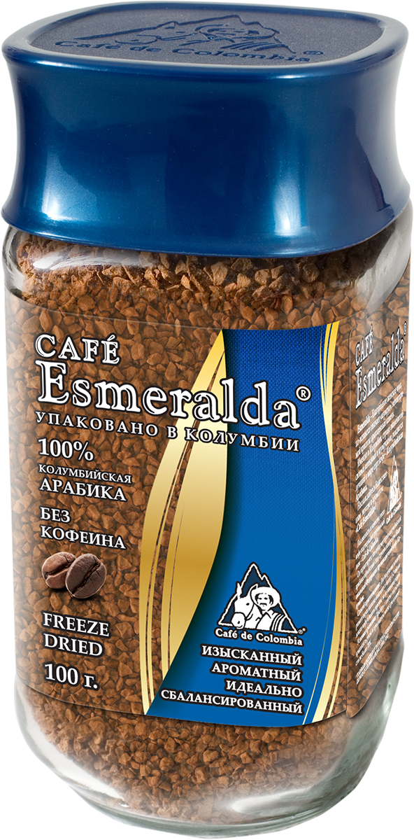 Cafe Esmeralda сублимированный кофе без кофеина, 100 г101246Кофе Cafe Esmeralda произведен и упакован на самой современной в мире фабрике сублимированного кофе Liofilizado в Колумбии под строгим контролем Национальной Федерации производителей кофе Колумбии. Процесс декофеинизации проходит на единственной в Колумбии фабрике Дескафекол (Descafecol). Кофеин извлекают из зеленых кофейных зерен естественным, нежным и современным способом с использованием природных агентов: кристально чистой воды из горных источников и ацетата этила (EA), который содержится во многих фруктах и овощах. На фабрике применяется специальная комбинация чистой воды и ацетата этила, которая позволяет нежно извлекать до 99,7% кофеина из каждого зерна кофе.Кофе после такой обработки прекрасно подходит для обжарки и дальнейшего производства. А готовый напиток имеет настолько совершенный вкус, его невозможно отличить от классического кофе с кофеином. Кофе содержит не более 0,3% кофеина, его можно употреблять людям с сердечно-сосудистыми заболеваниями и тем, кто хочет избежать воздействия кофеина на организм.