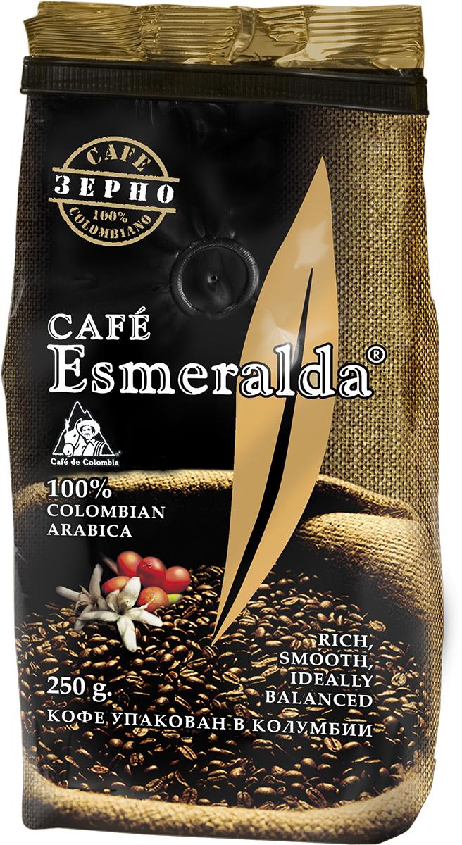 Cafe Esmeralda кофе в зернах, 250 г0120710Кофе Cafe Esmeralda произведен и упакован в Колумбии из отборного зерна класса Excellso. Средняя обжарка зерна (City roast) позволяет раскрыть все оттенки вкуса и аромата свежего кофе. При заваривании кофе обладает мягким насыщенным вкусом с восхитительной винно-фруктовой кислинкой и образует пышную кофейную пену. Чашка утреннего кофе с ярким, гармоничным ароматом зарядит вас бодростью и энергией на весь день!
