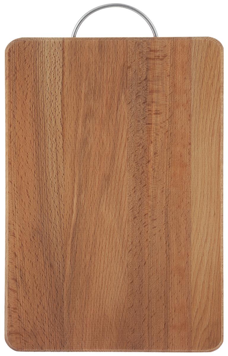 Доска разделочная Хозяюшка, с ручкой, 35 х 25 см. 01-468/5/3Разделочная доска Хозяюшка изготовлена из бука. Бук наряду с дубом и тиком относится к ценным твердолиственным породам элитной группы категории А, класса люкс. По структуре древесины бук считается менее рыхлым, чем дуб, и более гибким, чем тик, при этом не уступает по прочности этим двум породам, а по красоте даже превосходит их. Бук отличают, прежде всего, уникальная текстура и естественный белый с желтовато-красным оттенком, со временем переходящим в розовато-коричневый, цвет древесины. Бук прекрасно поддается шлифовке и полировке. Бук боится влаги, но, как в случае со всеми без исключения досками из древесины, вопрос влагостойкости решается пропиткой дерева специальным минеральным или льняным маслом. Масло защищает доску от коробления, рассыхания и растрескивания. Именно поэтому все доски Хозяюшка обработаны льняным маслом и упакованы в пленку. Разделочная доска имеет прямоугольную форму, оснащена металлической ручкой. Нельзя мыть в посудомоечной машине. Для продления срока эксплуатации рекомендуется периодически смазывать доску растительным маслом. Длина доски (с ручкой): 39 см.