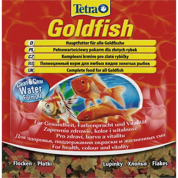 Корм для золотых рыбок Tetra Goldfish, хлопья, 12 г0120710Корм Tetra Goldfish - высококачественный сбалансированный корм в хлопьях для всех видов золотых рыбок, а также других видов холодноводных рыб. Корм улучшает здоровье, жизненную силу и делает окрас ярче. Тщательно подобранная смесь высокопитательных ингредиентов с витаминами, минералами и микроэлементами для полноценного питания. Запатентованная БиоАктив-формула поддерживает здоровую иммунную систему. Формула Clean & Clear Water улучшает усвояемость корма и сокращает количество экскрементов рыб, обеспечивая чистоту и прозрачность воды. Кормить несколько раз в день небольшими порциями. Состав: рыба и побочные рыбные продукты, зерновые культуры, дрожжи, экстракты растительного белка, моллюски и раки, масла и жиры, сахар, водоросли. Аналитические компоненты: сырой белок 42%, сырые масла и жиры 11%, сырая клетчатка 2%, влага 6,5%. Добавки: витамины, провитамины и химические вещества с аналогичным воздействием: витамин A 29100 МЕ/кг, витамин Д3 1820 МЕ/кг. Комбинации микроэлементов: Е5 марганец 17 мг/кг, Е6 цинк 10 мг/кг, Е1 железо 7 мг/кг, Е3 кобальт 0,1 мг/кг. Красители, антиоксиданты. Товар сертифицирован.