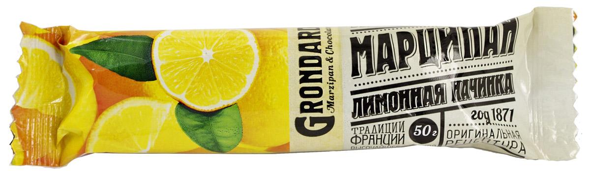 Grondard Marzipan батончик марципановый с лимоном, 50 г0120710Шоколадный марципановый батончик Grondard с лимонной начинкой подарит истинное наслаждение великолепным вкусом. Этим лакомством всегда приятно побаловать себя и гостей за вечерним чаепитием. Изысканный и оригинальный марципановый вкус поможет перенестись в атмосферу мечтаний и грез. Очаруйтесь его вкусом, оцените все грани этого изящного лакомства от компании Grondard.