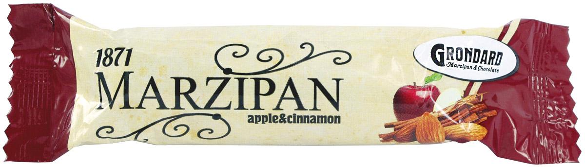 Grondard Marzipan батончик марципановый с яблоком и корицей, 50 г0120710Шоколадный марципановый батончик Grondard с яблоком и корицей подарит истинное наслаждение великолепным вкусом. Этим лакомством всегда приятно побаловать себя и гостей за вечерним чаепитием. Его изысканный и оригинальный марципановый вкус, дополненный утонченным шоколадным вкусом, поможет перенестись в атмосферу мечтаний и грез. Очаруйтесь их вкусом, оцените все грани этого изящного лакомства от компании Grondard.