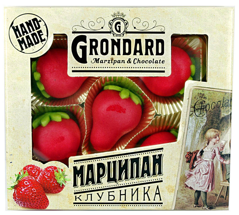 Grondard Marzipan конфеты марципановые в форме клубники, 100 г0120710Нежные марципановые конфеты Grondard Marzipan в оригинальном исполнении подарят истинное наслаждение великолепным вкусом. Это лакомство придется по вкусу как взрослым, так и маленьким сладкоежкам. Их изысканный и оригинальный марципановый вкус поможет перенестись в атмосферу мечтаний и грез. Очаруйтесь их вкусом, оцените все грани этого изящного лакомства от компании Grondard.