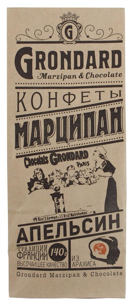 Grondard Marzipan Марципан из арахиса с апельсиновой начинкой, 140 гУТ-00000386Нежные марципановые конфеты в классическом исполнении подарят истинное наслаждение великолепным вкусом. Отличной особенностью этих конфет является вкуснейшая марципаеновая масса из арахиса. Интересная рецептура дает сочетание изысканного шоколада, марципана и начинки из апельсина. Этим лакомством всегда приятно побаловать себя и гостей за вечерним чаепитием. Их изысканный и оригинальный марципановый вкус поможет перенестись в атмосферу мечтаний и грез. Очаруйтесь их вкусом, оцените все грани этого изящного лакомства от компании Grondard.