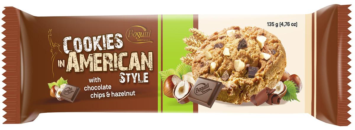 Bogutti American Cookies печенье с шоколадной и ореховой крошкой, 135 г0120710Bogutti American Cookies - высококачественное сдобное печенье с шоколадной крошкой и крошкой дробленого ореха, приготовленное по лучшим итальянским технологиям, из тщательно отобранного сырья. Качество всех изделий отвечает высоким международным требованиям BRC, IFS, а сама выпечка выглядит аппетитно и привлекательно.
