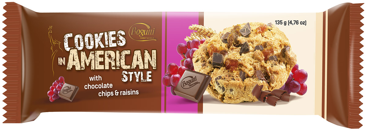 Bogutti American Cookies печенье с шоколадной крошкой и изюмом, 135 г4008560Bogutti American Cookies - высококачественное сдобное печенье с шоколадной крошкой и изюмом, приготовленное по лучшим итальянским технологиям, из тщательно отобранного сырья. Качество всех изделий отвечает высоким международным требованиям BRC, IFS, а сама выпечка выглядит аппетитно и привлекательно.