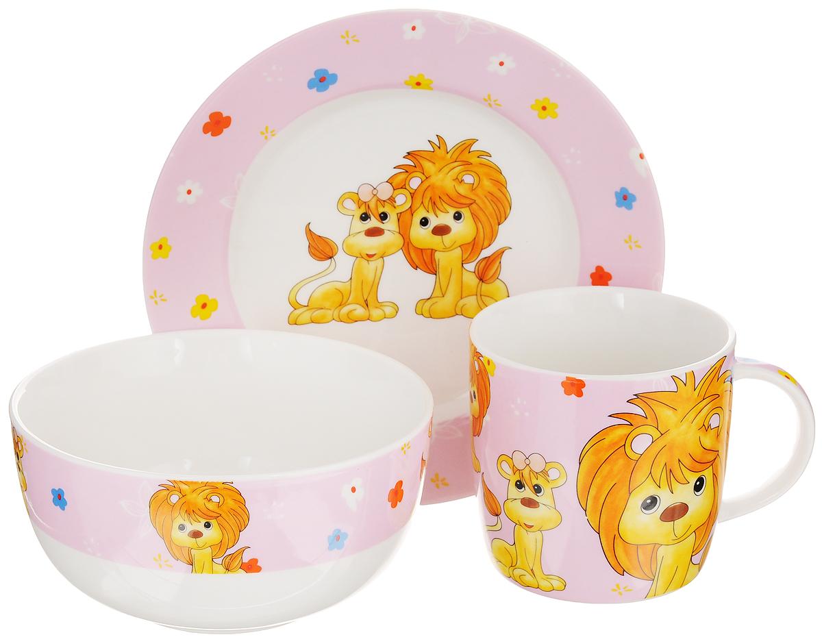 Набор детской посуды Elan Gallery Львята на розовом, 3 предмета290137Набор детской посуды Elan Gallery Львята на розовом, выполненный из высококачественной керамики, состоит из кружки, десертной тарелки и миски. Материалы изделий нетоксичны и безопасны для детского здоровья. Изделия оформлены ярким изображением львят.Детская посуда удобна и увлекательна для вашего малыша. Привычная еда станет более вкусной и приятной, если процесс кормления сопровождать игрой и сказками. Красочная посуда является залогом хорошего настроения и аппетита ваших детей, а также станет желанным подарком.Диаметр десертной тарелки: 17 см. Высота десертной тарелки: 2 см.Объем миски: 500 мл.Диаметр миски: 13 см. Высота миски: 6,5 см. Объем кружки: 250 мл. Диаметр кружки (по верхнему краю): 8,2 см. Высота кружки: 8 см.