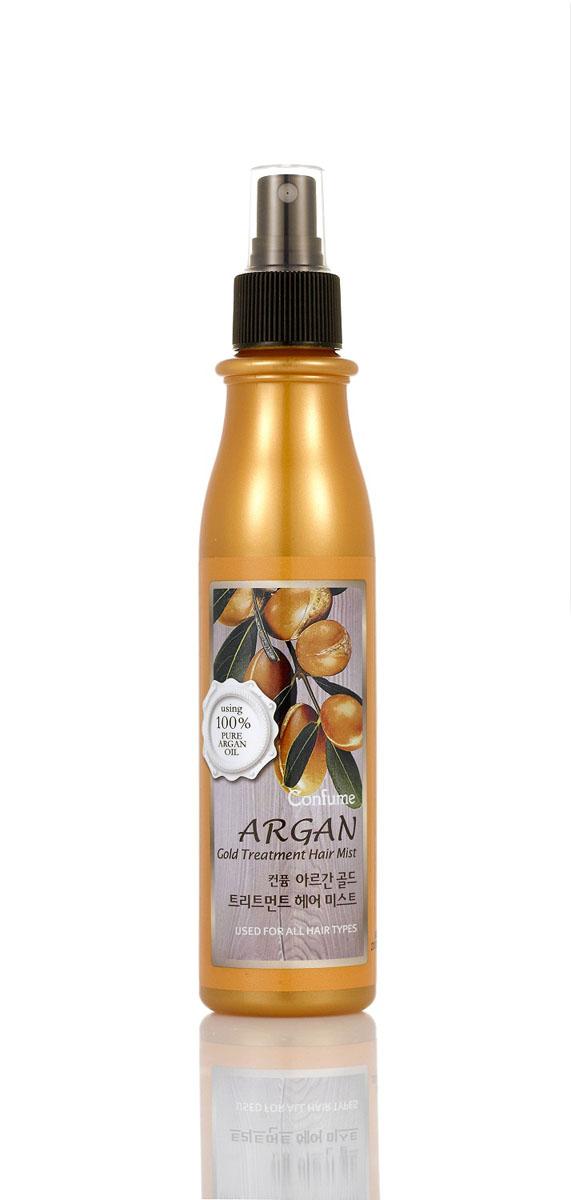 Confume Argan Увлажняющий спрей для волос аргановым маслом серии GOLD, 200 мл8803348015864Спрей для волос содержит богатый растительный комплекс из ягод ассаи, плодов нони, мангустина, барбариса и облепихи, который интенсивно питает и поддерживает волосы в здоровом состоянии. Благодаря входящим в состав золотым частицам спрей способствуют здоровому блеску и сиянию волос, укрепляя их. Подходит для окрашенных волос.Спрей для волос содержит богатый растительный комплекс из ягод ассаи, плодов нони, мангустина, барбариса и облепихи, который интенсивно питает и поддерживает волосы в здоровом состоянии.