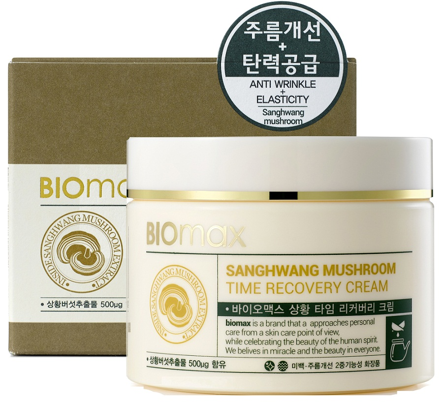 BioMax Антивозрастной крем с экстрактом гриба санхван, 100 мл5075Экстракт гриба санхван обладает сильным имуностимулирующим и противовоспалительным действием, а также сокращает признаки преждевременного увядания кожи. Крем интенсивно питает и восстанавливает кожу, обладает антиоксидантным эффектом. Увлажнение достигается путем активизации коллагена.Ниацинамид – повышает тонус кожи и выравнивает тон лица.Аденозин – борется с первыми признаками возрастных изменений кожи.Экстракты корня имбиря и корня женьшеня - способствуют восстановлению кожи.