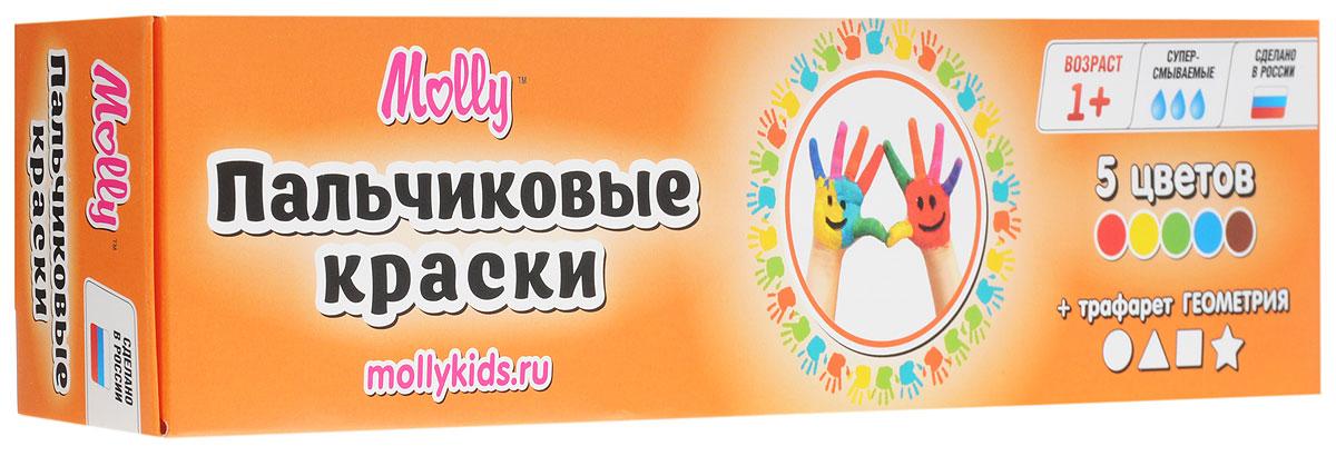 Molly Краски пальчиковые с трафаретом Геометрия 5 цветовPP-103Краски пальчиковые с трафаретом Molly Геометрия разработаны специально для рисования пальчиками или ладошками для детей от одного года.Краски идеально подходят для раннего обучения цветам, развития тонкой моторики, тактильного восприятия. Перед применением краски рекомендуется перемешать, при необходимости разбавить теплой водой. После использования плотно закрыть баночки и вымыть руки. При попадании краски в глаза или рот - промыть водой. Краски нетоксичны, безопасны при использовании по назначению.Состав красок: пищевой краситель, целлюлозный загуститель, глицерин, мел, консервант косметический, вода питьевая.В набор входят 5 цветов - коричневый, зеленый, синий, красный, желтый и тематический трафарет для рисования.