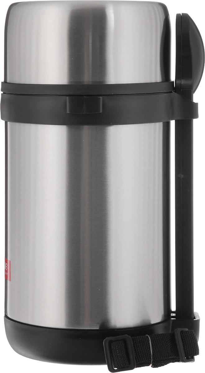 Термос для пищи Calve, с контейнерами, 1,5 л23718Термос для пищи Calve изготовлен из высококачественной нержавеющей стали. Термос герметичный, что позволяет надолго сохранять пищу горячей. Три прозрачных пластиковых контейнера компактно помещаются внутрь и позволяют хранить различные блюда. Верхняя крышка с внутренней пластиковой отделкой также может использоваться как миска для еды. В комплекте также предусмотрена ложка из нержавеющей стали 18/8, она хранится в специальном футляре, который удобно закрепляется с внешней стороны термоса. Текстильный ремешок предназначен для комфортной переноски. Термос для пищи Calve обязательно пригодится в походе, путешествии или на пикнике. Изделие можно мыть в посудомоечной машине. Диаметр термоса (по верхнему краю): 11,5 см. Высота термоса: 26 см. Длина ложки: 18,5 см. Диаметр контейнеров: 11 см. Высота контейнеров: 5,5 см; 9,5 см.