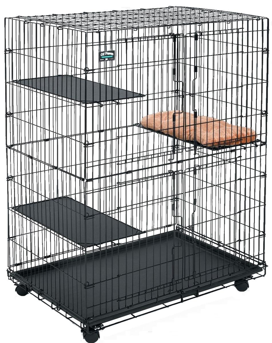 Клетка для кошек Midwest Cat Playpens, 91,5 x 60 x 128 см0120710Двухэтажная клетка для кошек Midwest Cat Playpens изготовлена из металла и покрыта специальным черным покрытием Electro-Coat, которое увеличивает срок ее эксплуатации. Подойдет для содержания как одного, так и нескольких животных.Клетка оснащена двумя независимыми фронтальными дверьми с надежными замками-задвижками. В комплект также входит 2 полки для удобства расположения животных и выдвигающийся поддон, который легко мыть и чистить. Клетка на колесах, полностью разборная, удобна для транспортировки. Высококачественные товары Midwest для транспортировки, комфорта и безопасности животных, позволят вам обустроить пространство для вашего питомца и сделать совместные путешествия легкими и удобными. Размер клетки: 91,5 х 60 х 128 см.