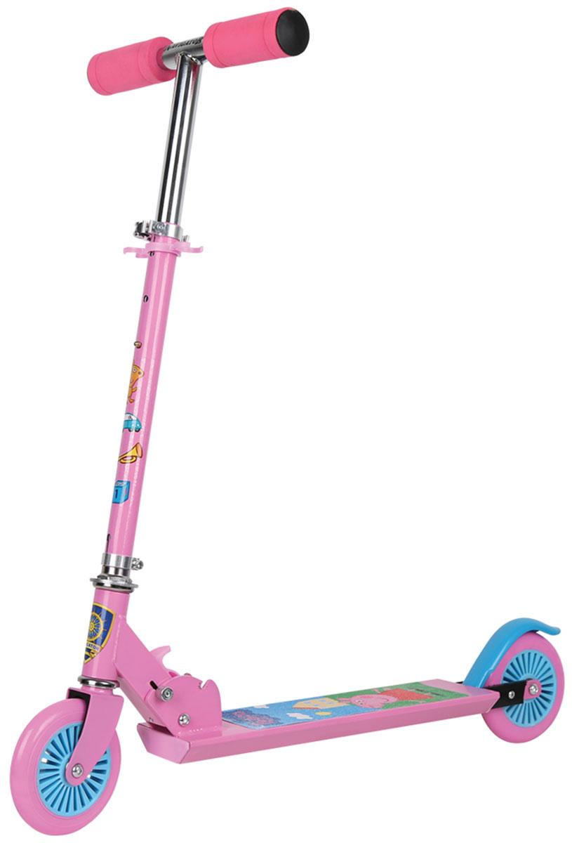 Navigator Самокат двухколесный Peppa цвет розовый голубойТ58465Самокат Navigator - это специализированная модель для детей. Удобные колеса отвечают за маневренность и подвижность самоката. Изделие дополнено яркими рисунками.