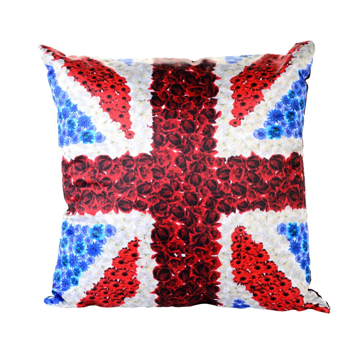 Подушка декоративная GiftnHome  Британский Флаг, 35 x 35 смBL-1BПодушка декоративная Британский Флаг 35x35 см. Наволочка 100% п/э атлас