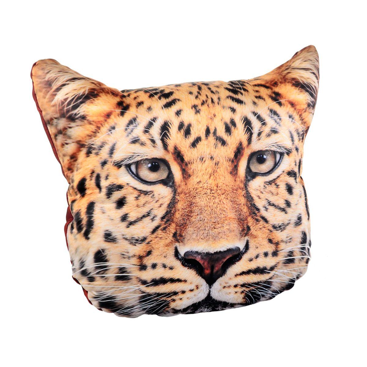 Подушка декоративная GiftnHome Леопард, 40 x 40 смBH-UN0502( R)Подушка декоративная GiftnHome, выполненная в виде морды леопарда, прекрасно дополнит интерьер спальни или гостиной. Чехол подушки изготовлен из атласа (искусственный шелк). В качестве наполнителя используется мягкий холлофайбер. Чехол снабжен потайной застежкой-молнией, благодаря чему его легко можно снять и постирать. Красивая подушка создаст атмосферу уюта в доме и станет прекрасным элементом декора.
