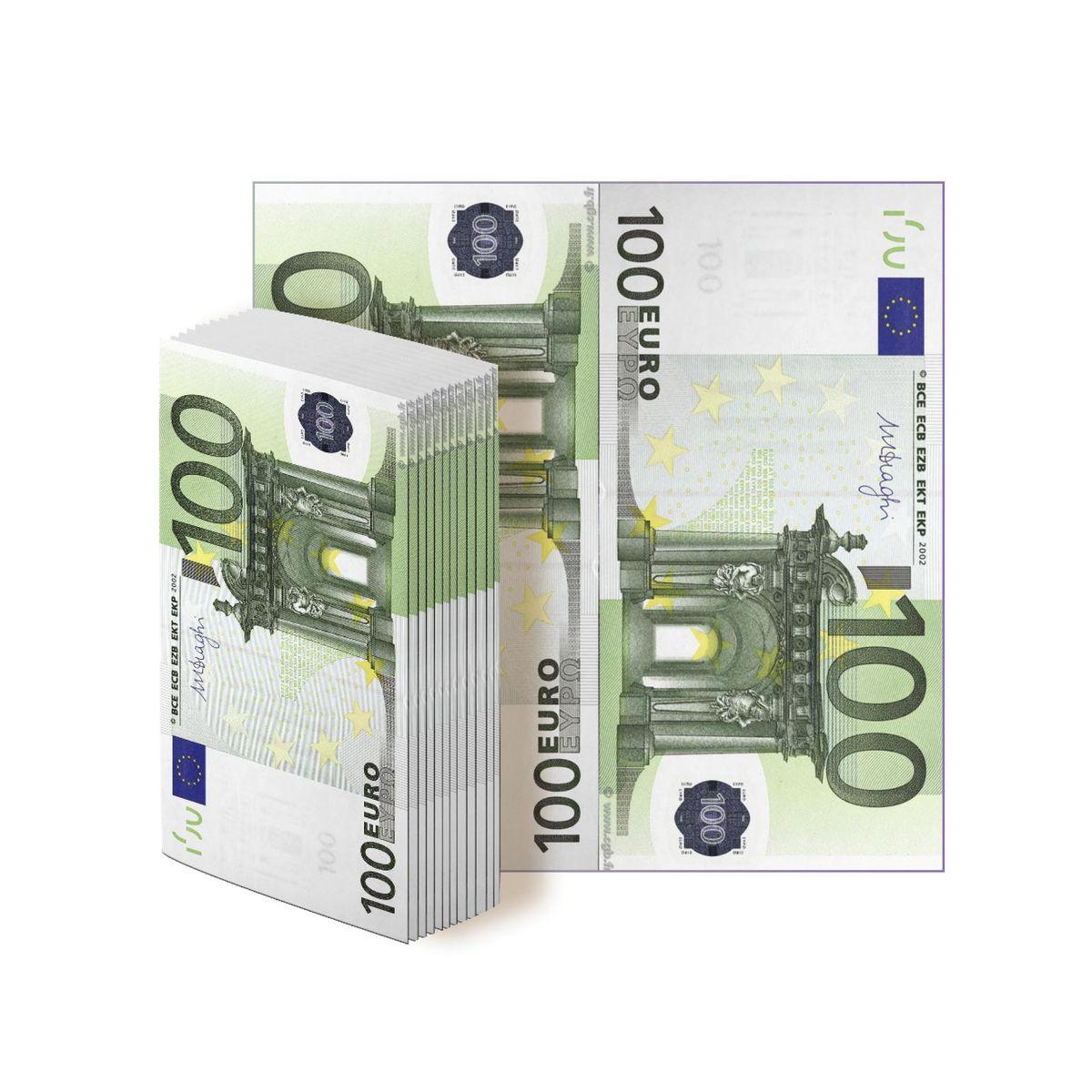 Салфетки бумажные Gratias 100 евро, трехслойные, 33 х 33 см, 12 шт91615Бумажные салфетки в виде купюр евро. Отличный выбор для оформления веселой вечеринки, подчеркнет ваше прекрасное чувство юмора и добавит дополнительного антуража на ваш праздник.Размер салфеток:- в сложенном виде: 16 х 8 см;- в развернутом виде: 33 х 33 см.