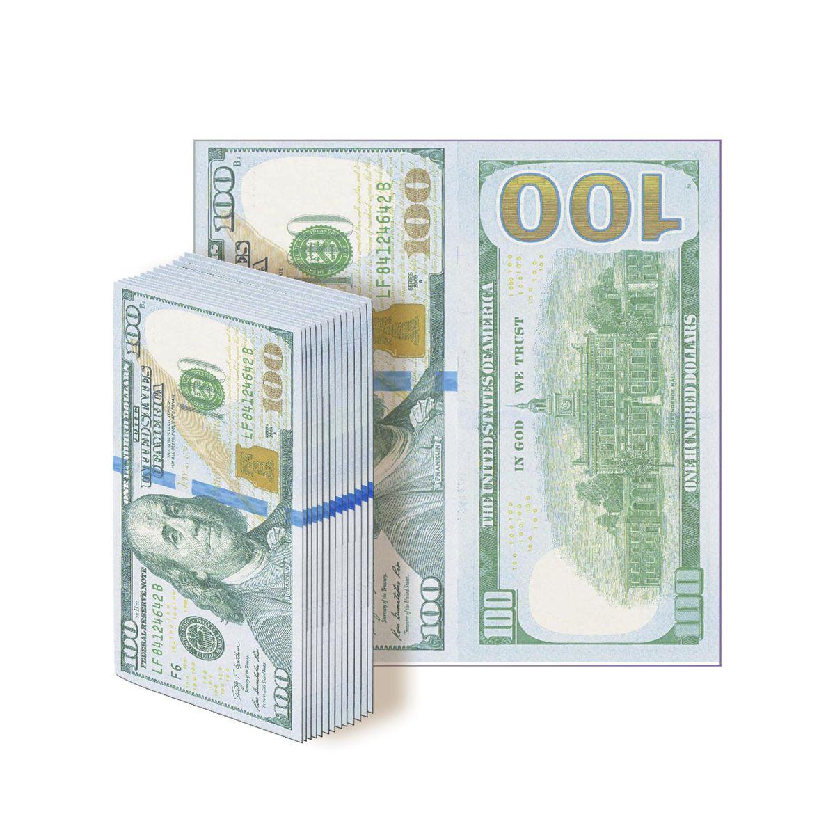 Салфетки бумажные Gratias 100 долларов, трехслойные, 33 х 33 см, 12 штRC-100BPCБумажные салфетки в виде 100 долларовых купюр. Отличный выбор для оформления веселой вечеринки, подчеркнет ваше прекрасное чувство юмора и добавит дополнительного антуража на ваш праздник.Размер салфеток:- в сложенном виде: 16х8 см;- в развернутом виде: 33х33 см.