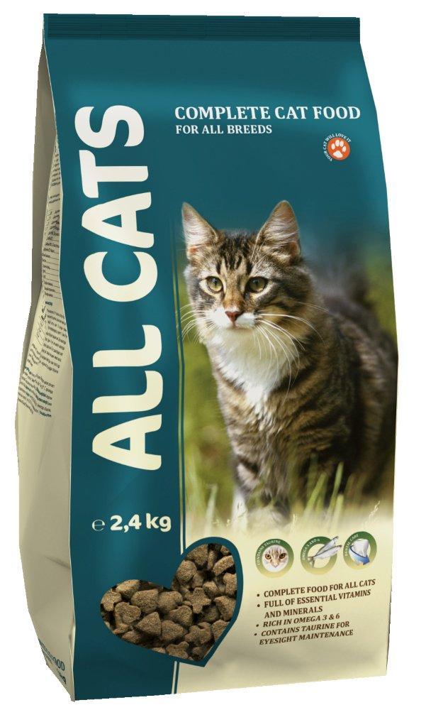 Корм сухой ALL CATS для взрослых кошек, 2,4 кг0120710Корм сухой ALL CATS - это полнорационный корм для взрослых кошек всех пород. Подходит в качестве полноценного питания, содержит жизненно важные витамины и минералы, а также специальные полезные добавки (таурин, биотин, селен, йод). Жирные кислоты Омега-3 и Омега-6, содержащиеся в составе, необходимы для здоровой кожи и красивой шерсти. Хрустящие гранулы угловатой формы поддерживают гигиену полости рта. Корм содержит аминокислоту таурин, которая помогает предотвратить дегенерацию сетчатки глаза, а также укрепляет иммунную систему кошки. Высокое содержание мяса - минимум 30% натурального дегидратированного мяса. Корм производится из высококачественного сырья, не содержит ГМО, сои и красителей. Состав: злаки, мясо и продукты животного происхождения, овощи, масла и жиры, рыба и рыбные субпродукты (источник Омега-3 и Омега-6 жирных кислот), минеральные вещества и витамины. Гарантируемые показатели: сырой протеин 30%, сырой жир 9%, сырая клетчатка 3%, сырая зола 7%, кальций 1,3%, фосфор 1,0%. Добавлено на 1 кг: Таурин 0,1%, Железо 80 мг, Медь 5 мг, Марганец 7,5 мг, Цинк 75 мг, Кобальт 0,05 мг, Йод 0,5 мг, Селен 0,1 мг, витамин А (Е 672) 5000 МЕ, витамин Е (альфа-токоферол) 50 мг, витамин D3 (Е671) 500 МЕ, витамин В1 (тиамин) 5 мг, витамин В2 (рибофлавин) 4 мг, витамин В3 (ниацин) 5 мг, витамин В4 (холин хлорид) 1200 мг, витамин В5 (пантотеновая кислота) 60 мг, витамин В6 (пиридоксин) 4 мг, витамин В9 (фолиевая кислота) 0,8 мг, витамин В12 0,02 мг, витамин Н (биотин) 0,2 мг. Энергетическая ценность: 340 ккал/100 г. Товар сертифицирован.