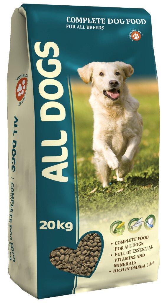 Корм сухой полнорационный для взрослых собак ALL DOGS 20 кг0120710Гарантируемые показатели.сырой протеин - 22 %сырой жир - 10 %сырая клетчатка - 4 %сырая зола – 8 %кальций – 1,4 %фосфор – 1,1 %Энергетическая ценность- 327 ккал/100 г.Перечень компонентов, входящих в рецептуру. злаки, мясо и продукты животного происхождения, овощи, масла и жиры, рыба и рыбные субпродукты (источник Омега-3 и Омега-6 жирных кислот), минеральные вещества и витамины.