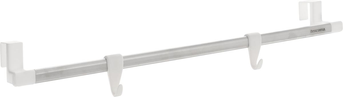 Вешалка подвесная Tescoma Octopus, 2 крючкаHM-701003CBПодвесная вешалка Tescoma Octopus поможет эффективно организовать пространство на кухне. Изделие выполнено из прочного пластика и высококачественной нержавеющей стали. Вешалку можно разместить на дверцу кухонного шкафа. Два пластиковых крючка подходят для подвешивания кухонной утвари, прихваток и других принадлежностей, а перекладина - для полотенец.