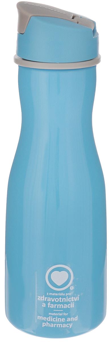 Бутылка для воды Tescoma Purity, цвет: голубой, 700 млVT-1520(SR)Стильная бутылка для воды Tescoma Purity, изготовленная из высококачественного пластика, оснащена съемным текстильным ремешком и крышкой с силиконовым уплотнителем, которая плотно и герметично закрывается, сохраняя свежесть и изначальную температуру напитка. Изделие прекрасно подойдет для использования в жаркую погоду: вода долго сохраняет первоначальные свойства и вкусовые качества. При необходимости в бутылку можно наливать витаминизированные напитки, фруктовые соки, чай или протеиновые коктейли.Такую бутылку можно без опаски положить в рюкзак, закрепить на поясе или велосипедной раме. Она пригодится как на тренировках, так и в походах или просто на прогулке.Бутылку разрешено кипятить и мыть в посудомоечной машине.Изделие можно использовать в холодильнике и микроволновой печи. Ремешок и крышку не рекомендуется мыть в посудомоечной машине.Диаметр горлышка бутылки: 5 см.Диаметр основания: 8 см.Высота бутылки (без учета крышки): 23 см.Длина ремешка: 11 см.