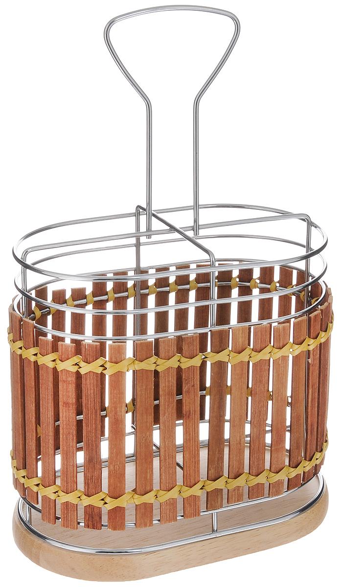 Подставка для столовых приборов Mayer & Boch, 15,8 х 10 х 25,5 см. 8635Аксион Т33Подставка для столовых приборов Mayer & Boch изготовлена из металла с деревянной плетеной отделкой. Изделие имеет 4 секции для хранения различных столовых приборов. Дно подставки сетчатое. Для удобной переноски подставка снабжена ручкой. Оригинальная и стильная подставка для столовых приборов отлично дополнит интерьер кухни и поможет аккуратно хранить ваши столовые приборы.